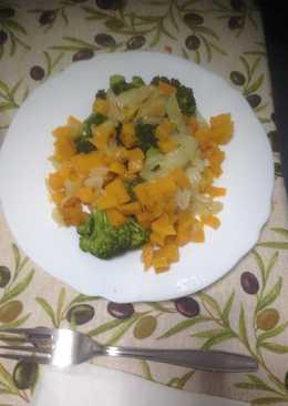 Brócoli y calabaza en la vaporera