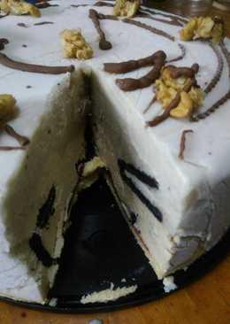 Torta helada de banana, crema Chocotorta y Oreos