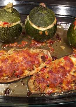 Calabacín y berenjena rellenos con quinoa