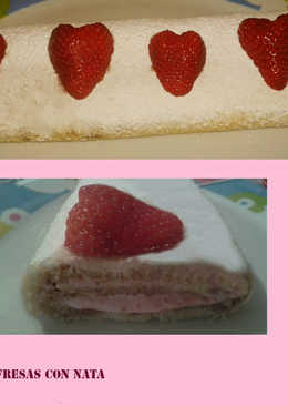 Brazo de gitano de fresas con nata