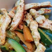 Verduritas al wok con pavo para diabéticos