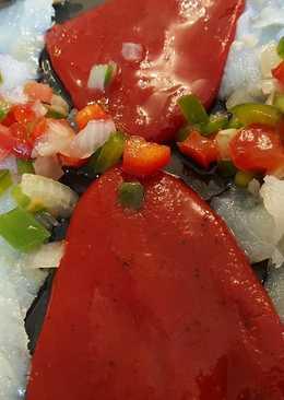Ensalada de bacalao ahumado y pimientos del piquillo