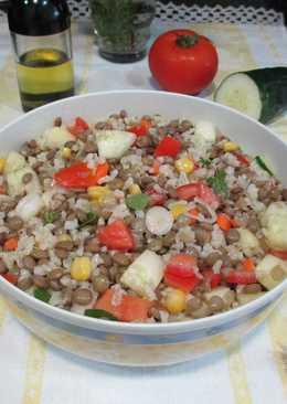 Ensalada de lentejas con arroz integral y maízal aroma delorégano fresco