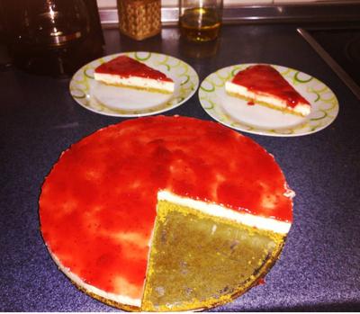 Tarta de queso y mermelada de fresa🍰