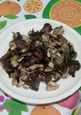 Verduras salteadas con pollo al horno