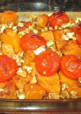 Calabaza en el horno con tomates cherry y nueces(vegana)