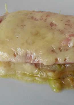 Graten de calabacín, jamón york y queso