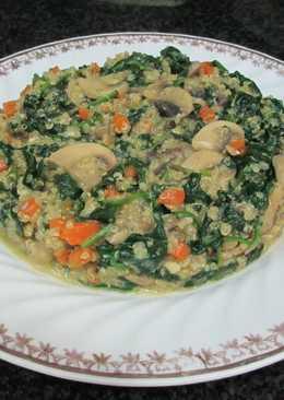 Espinaca con quinua y champis - vegana