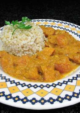 Panceta en salsa de calabaza al brandy con guarnición de arroz integral
