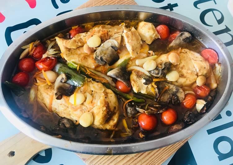 Pollo al horno con Almendras y verduritas