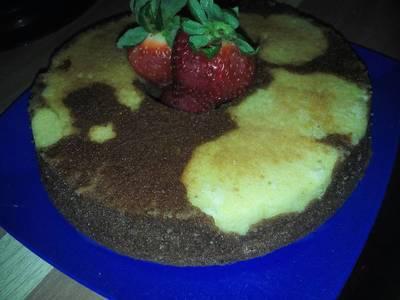 Torta moteada de vainilla y chocolate