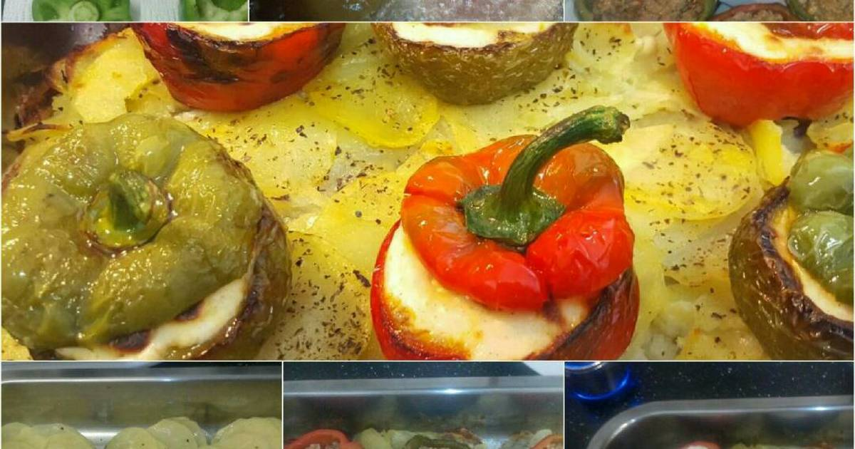 Pimientos rellenos de carne con bechamel 35 recetas - Pimientos rellenos de carne picada y bechamel ...