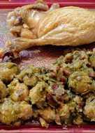 Pato confitado y coles de Bruselas con jamón