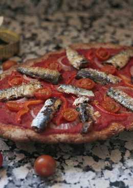 Coca integral de tomate y sardinas 🍅🐟 Apta para diabéticos
