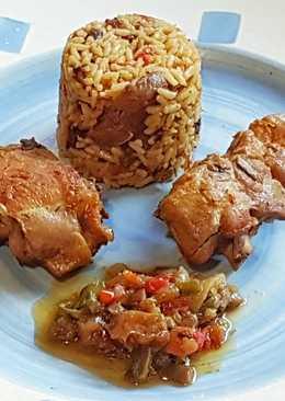 Tajine de Pollo al curry con arroz, jengibre y verduras