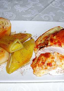 Pechuga de pollo con queso gratinadoy puerros - fácil