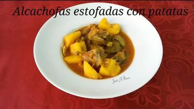 Alcachofas estofadas con patatas