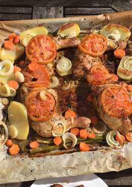 Pollo al horno con vegetales