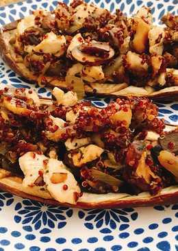 Berenjenas rellenas con quinoa y pavo para dieta