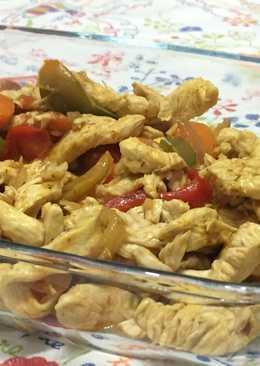 Pollo de fajitas al curry para cena con amigos 🎉💃🏻🕺