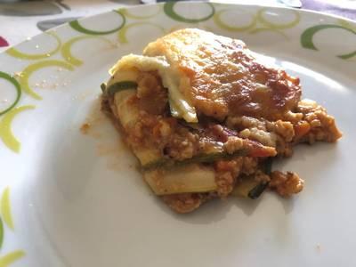 Lasaña vegetariana de calabacín y soja texturizada