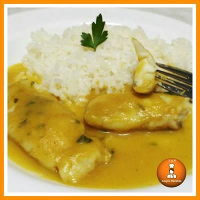 Merluza en salsa de calabaza y curry