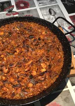Arroz al horno de pollo con champiñones