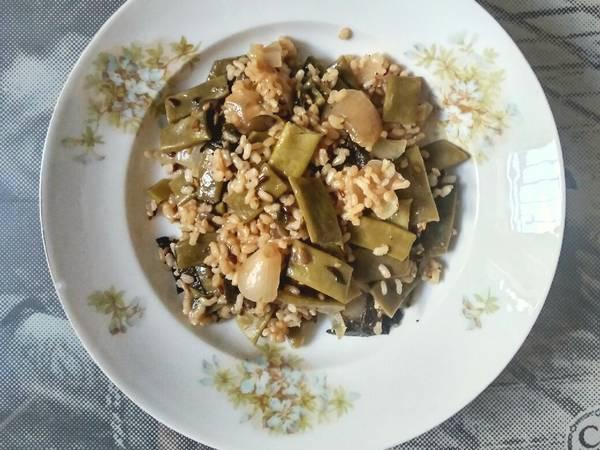 🎋 Judías verdes con arroz integral y alga nori