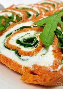 Brazo de pimiento relleno de queso roquefort