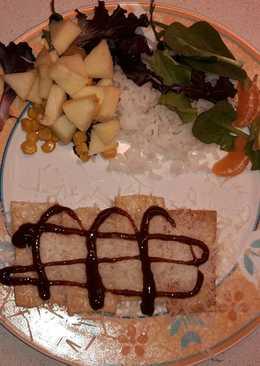 Tofu salteado con grana padano y salsa barbacoa