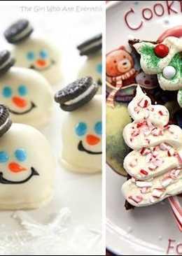 Postres de oreo y brownie navideños
