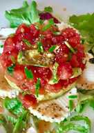 Tartar de sandía, tomate y aguacate