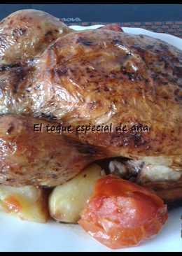 Pollo al horno aromatizado con hiervas frescas