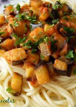 Espagueti con berenjenas