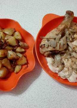 Pollo con mostaza e hinojo y papas al curry
