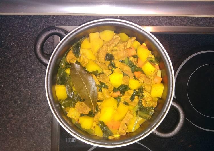 Estofado de cordero con patatas, zanahoria y acelgas