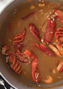 Arroz caldoso de bogavante, calamar sepia y langostinos 🍤