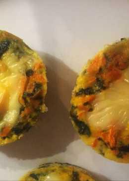 Canastita sin masa de espinaca choclo y zanahoria light! Fácil!