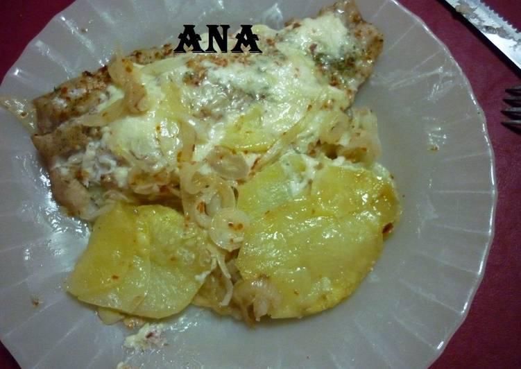 Pescado con milhojas de papas en microondas receta de gringa cookpad - Cocinar pescado en microondas ...