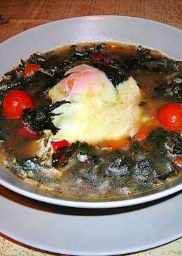 Sopa de ortigas con huevos y arroz