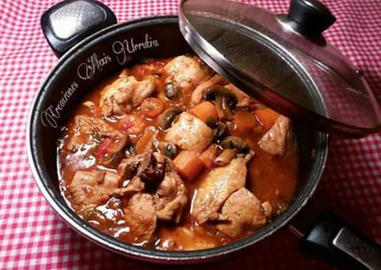 Pollo en salsa de especias árabes, con zanahorias y champiñones