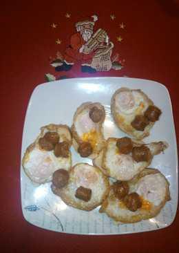 Canapé de huevo codornices y chistorra