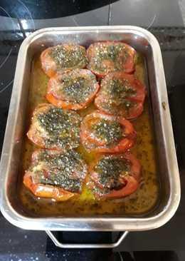 Tomates pera asados con ajo y perejil
