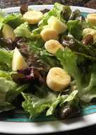 Ensalada de hoja de roble, y fruta: