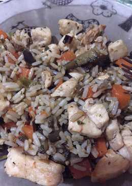 WOk de pollo y arroz rápido, fácil y exquisito!!!