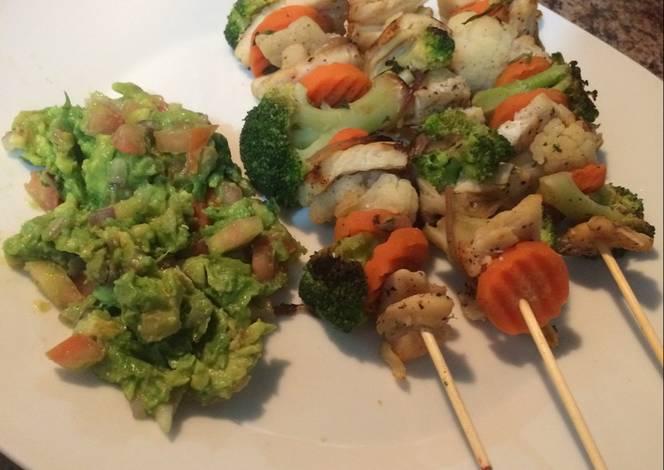 Brochetas de pollo con vegetales asados Receta de Sarai25