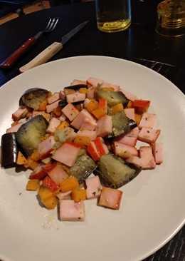 Lomo adobado con verduras
