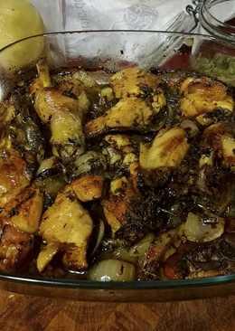 Pollo al horno con pimienta de Aleppo y menta