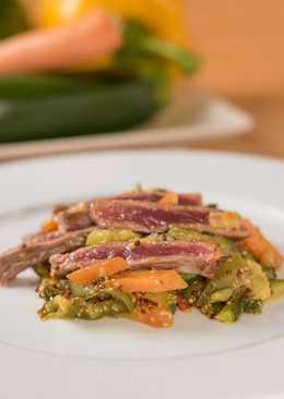 Entrecot con verduras salteadas a la mostaza
