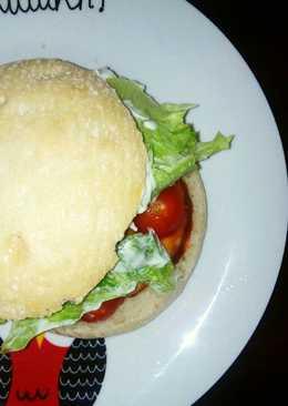 Hamburguesa mixta🍔 en pan de mollete 🆙
